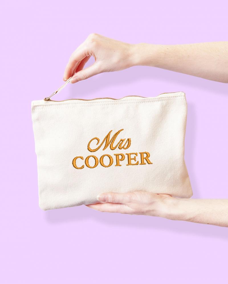 Personalised Mrs Surname Wedding Day Makeup Bag