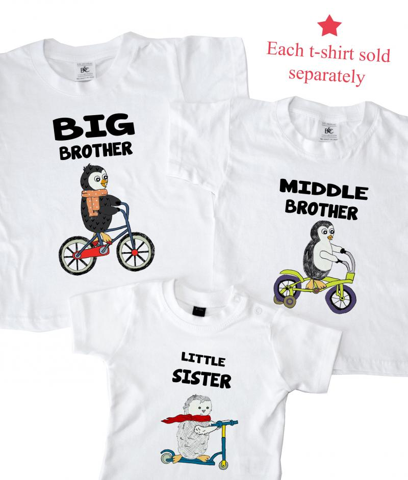 d0cc9dc63 Big Middle Little Brother / Sister Matching T-shirts - Penguins ...