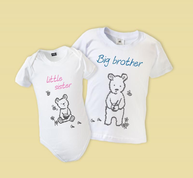 19b23d17c993 Big Little Brother Sister Matching T-shirts - Bear, SHORT ...
