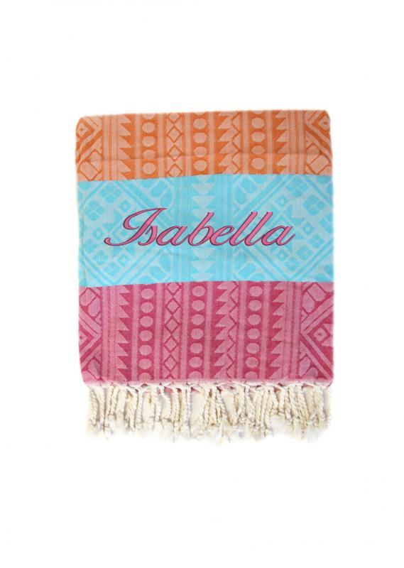 Personalised Bamboo And Cotton Beach Towel Pink Blue And