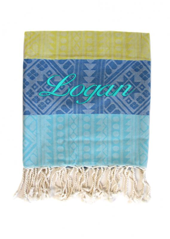 Personalised Bamboo And Cotton Beach Towel Blue And Yellow