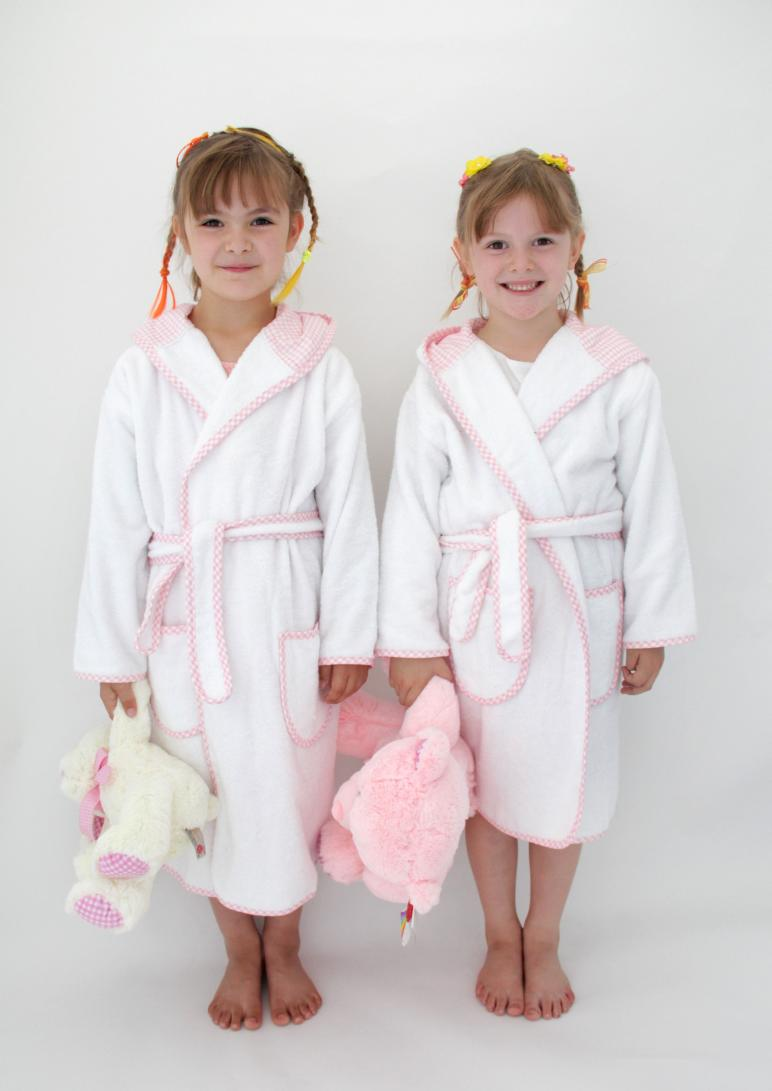Personalised Kid S Cotton Bathrobe White Amp Pink