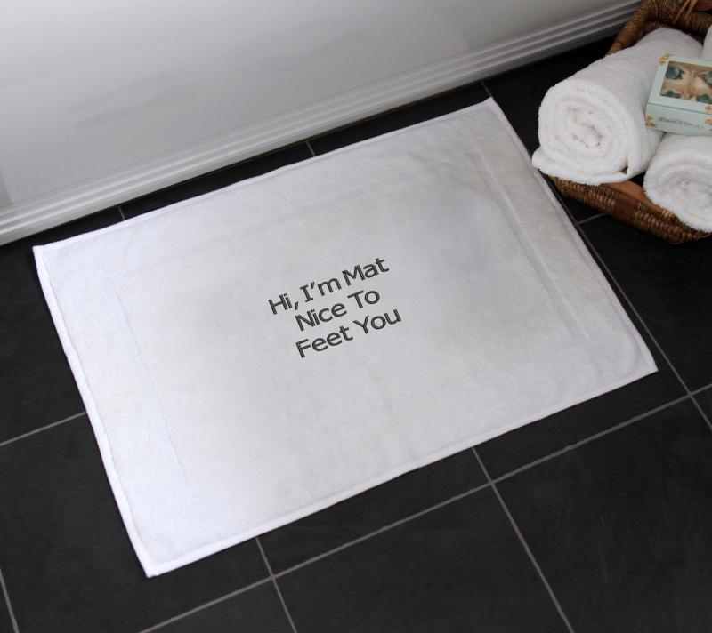 Funny Slogan Bath Mat I Am Mat Nice To Feet You