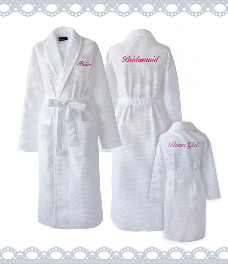 Personalised Bride White Waffle Dressing Gown