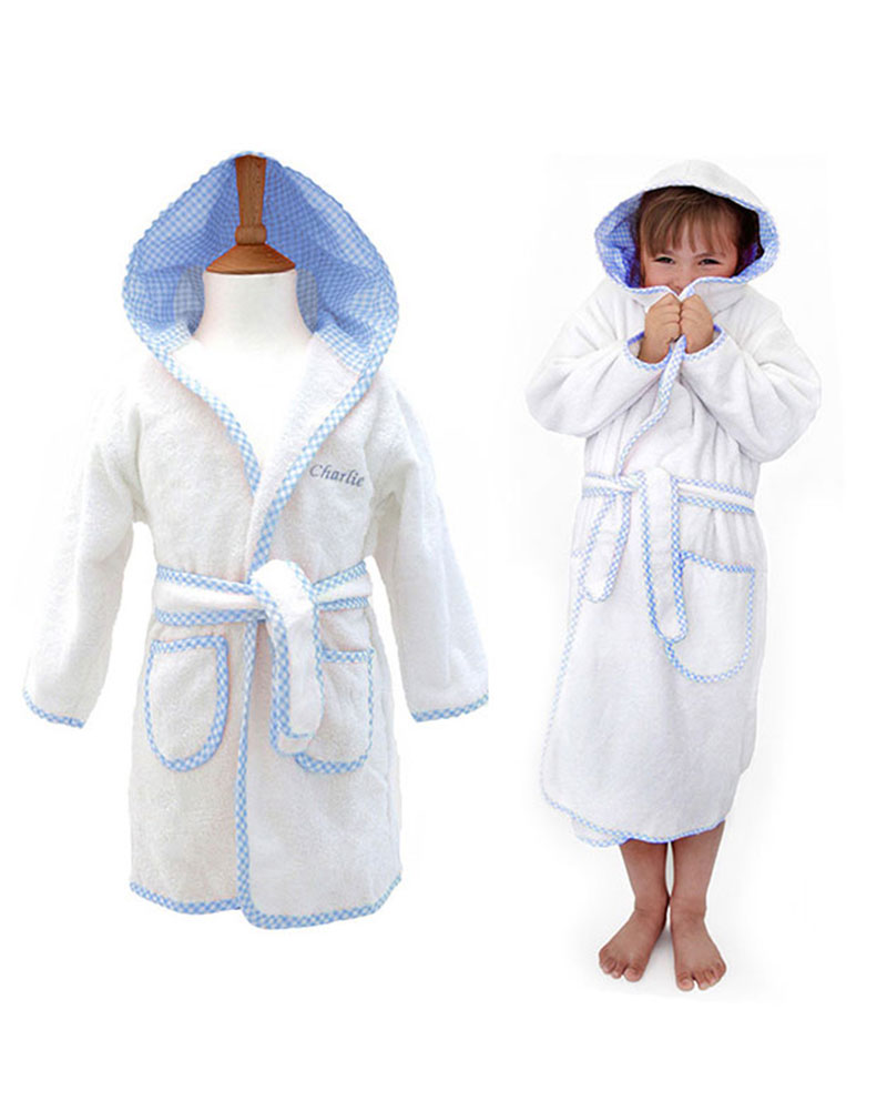 Personalised Boys Dressing Gown, Gingham Blue | WithCongratulations