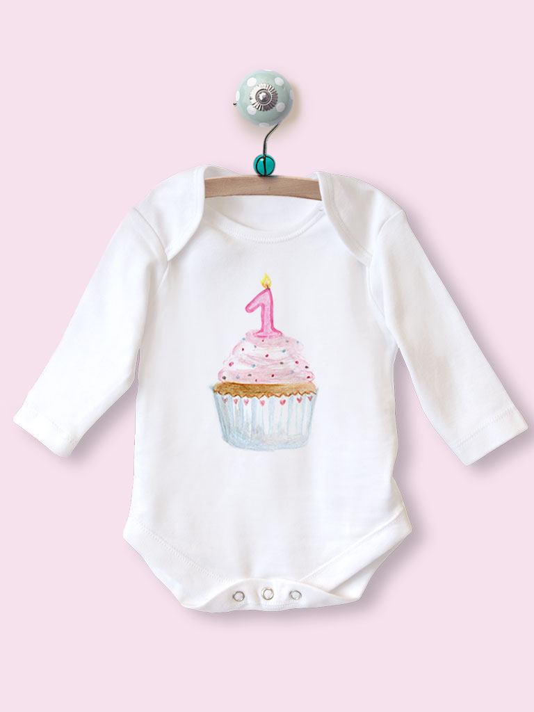 1st Birthday Long Sleeve Babygrow With Cupcake