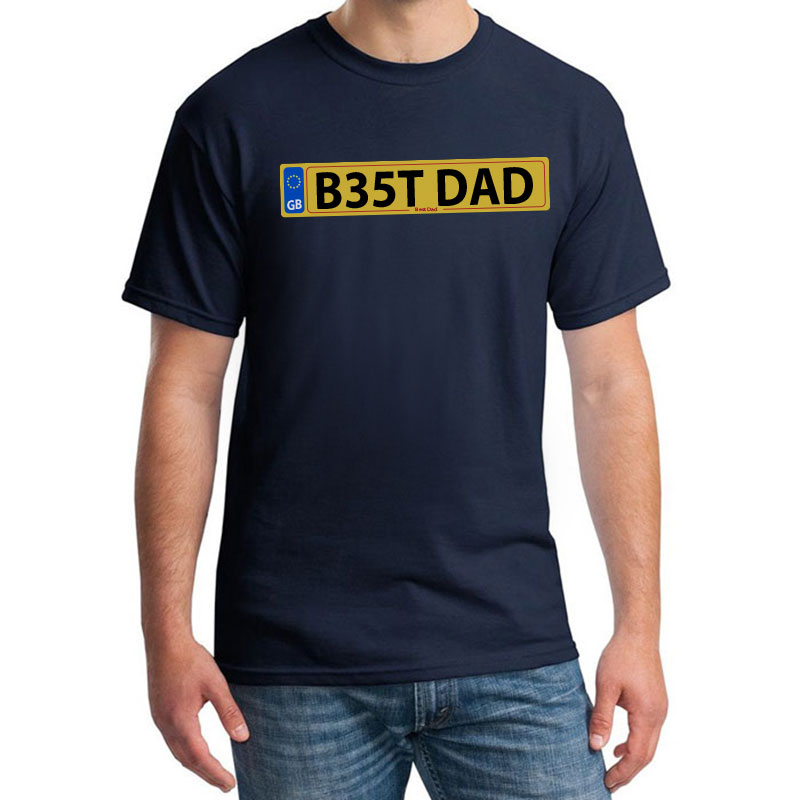 Best Dad Number Plate Printed T Shirt Withcongratulations