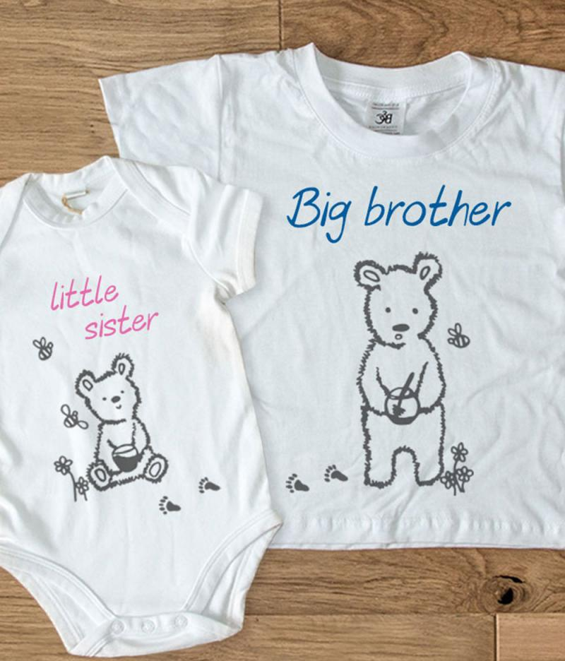 Big Little Brother Sister Matching T Shirts Bear Short