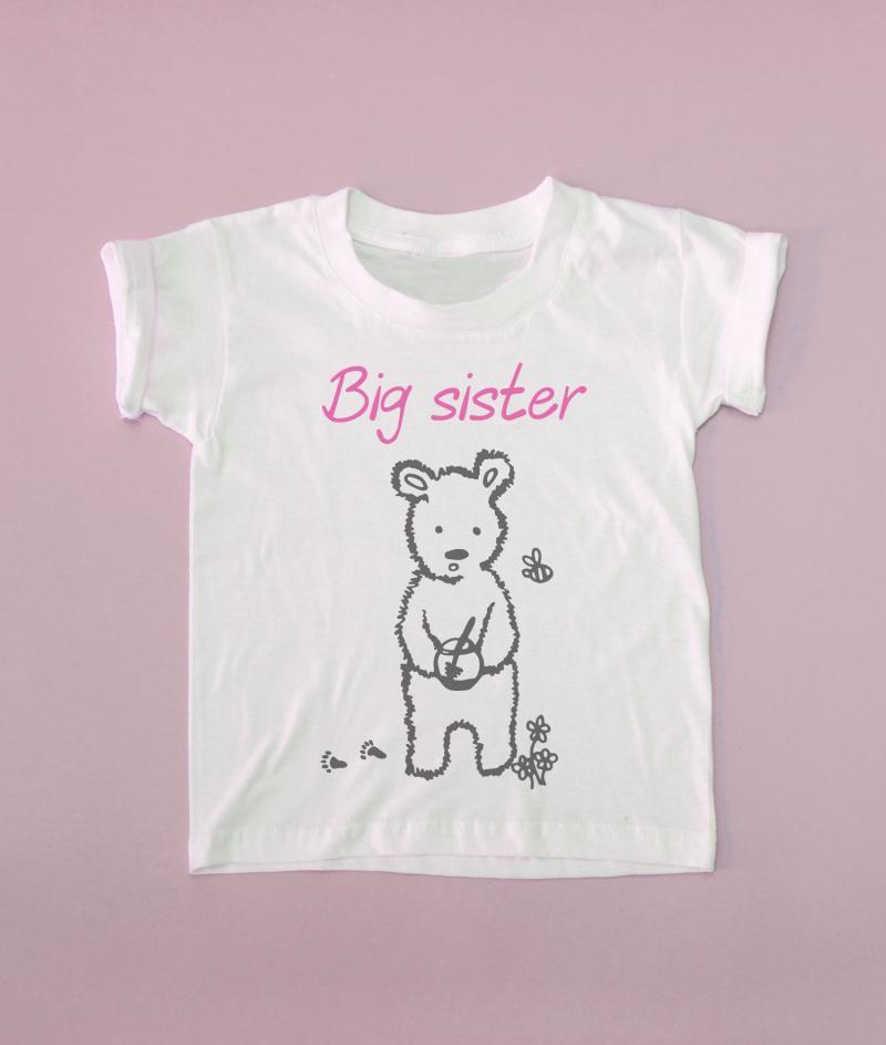 Big Little Brother Sister Matching T Shirts Bear Short