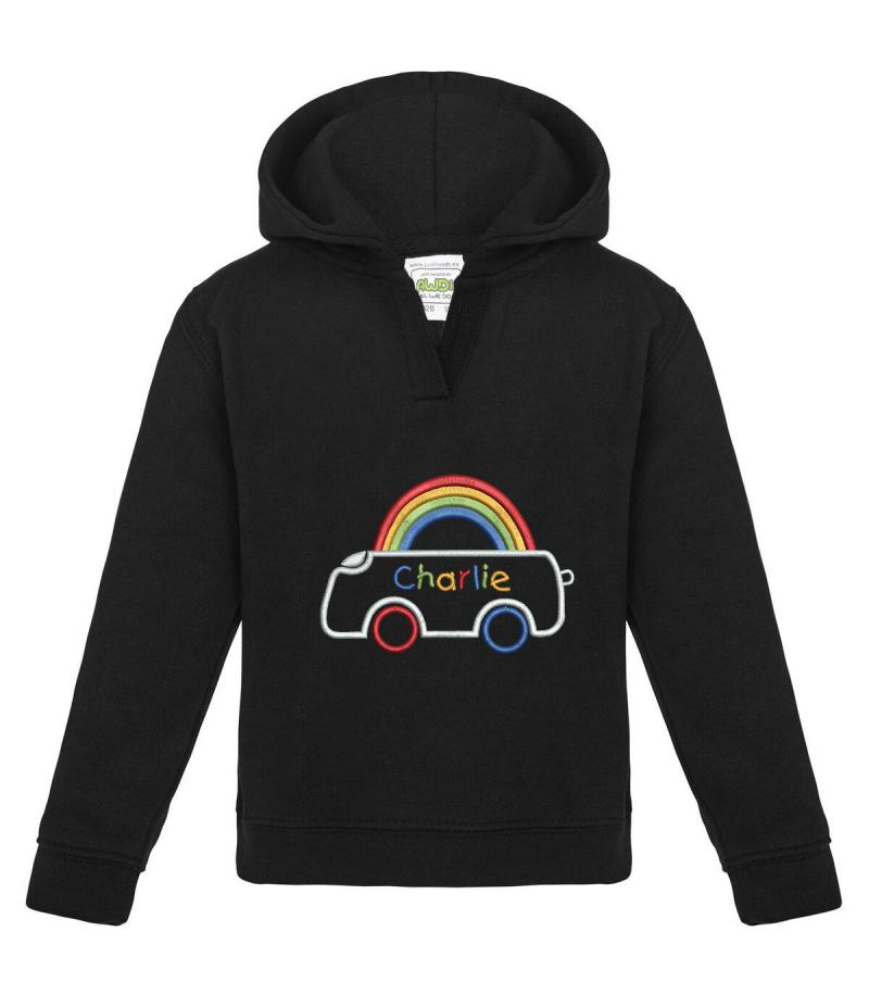 Personalised Embroidered Baby Hoodie With Rainbow Car