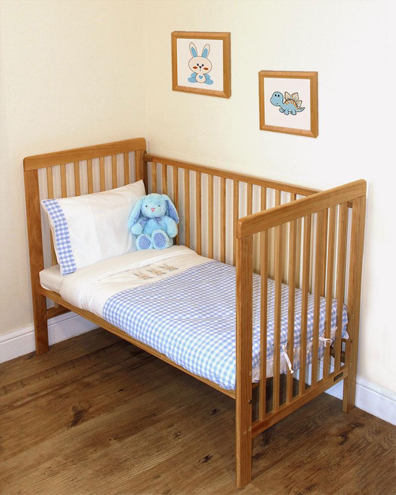 Blue Junior Toddler Cot Bed Bedding Set Bunny