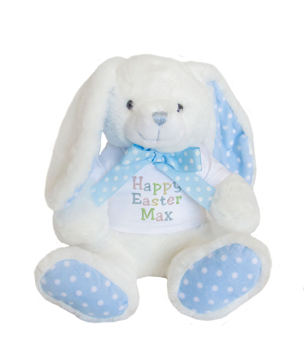 Personalised Easter Bunny Soft Toy With Polka Dot Details