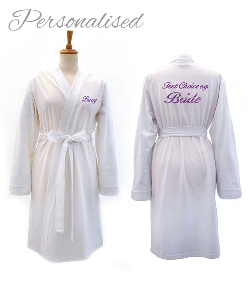 Personalised Bride White Jersey Dressing Gown | WithCongratulations