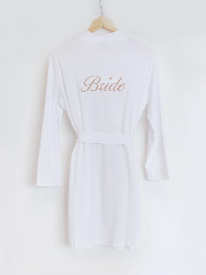 66939e391 Personalised Bride White Jersey Dressing Gown | WithCongratulations