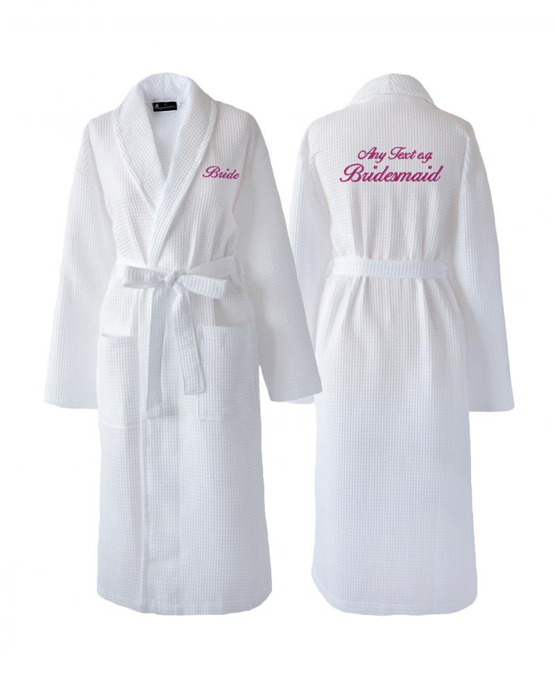 Fully Personalised White Waffle Wedding Dressing Gown ...
