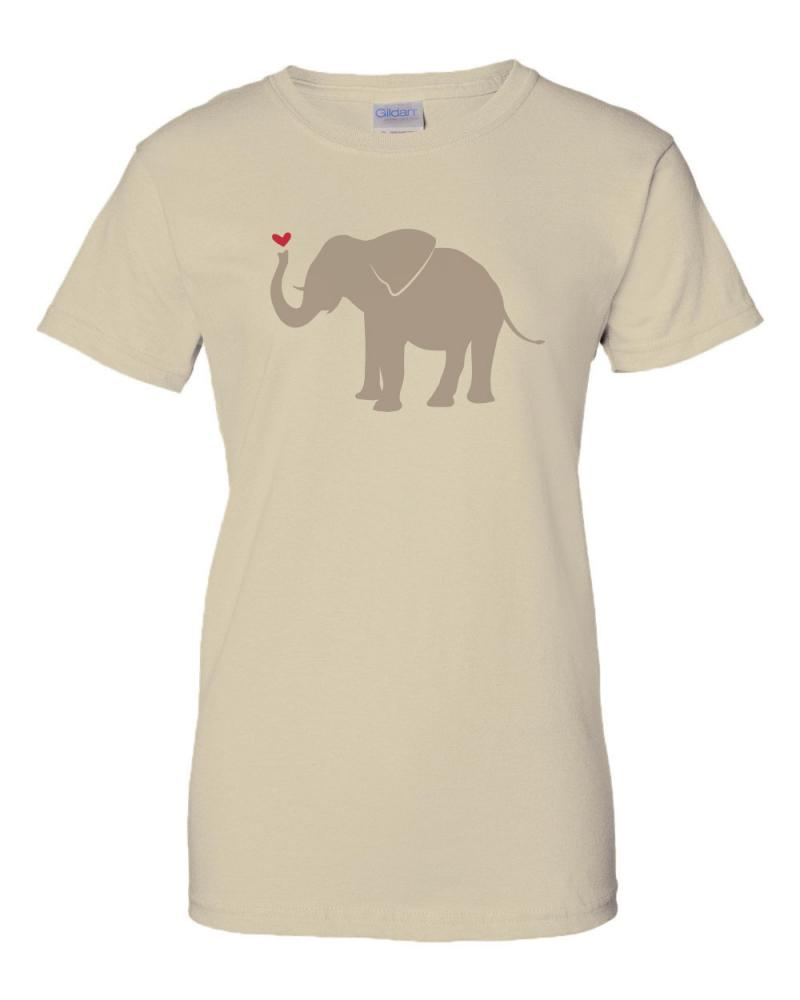 Printed cotton anniversary t shirt with elephant for Elephant t shirt women s