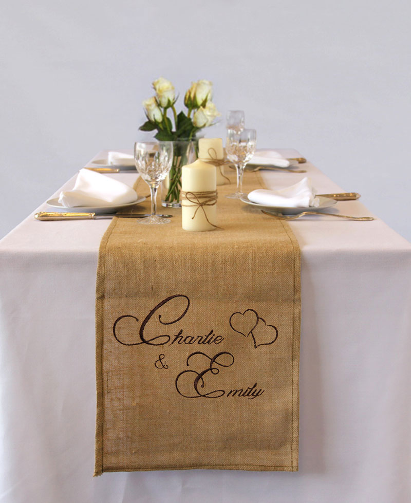 Personalised embroidered burlap table runner for 10 minute table runner 30 minute tote bag