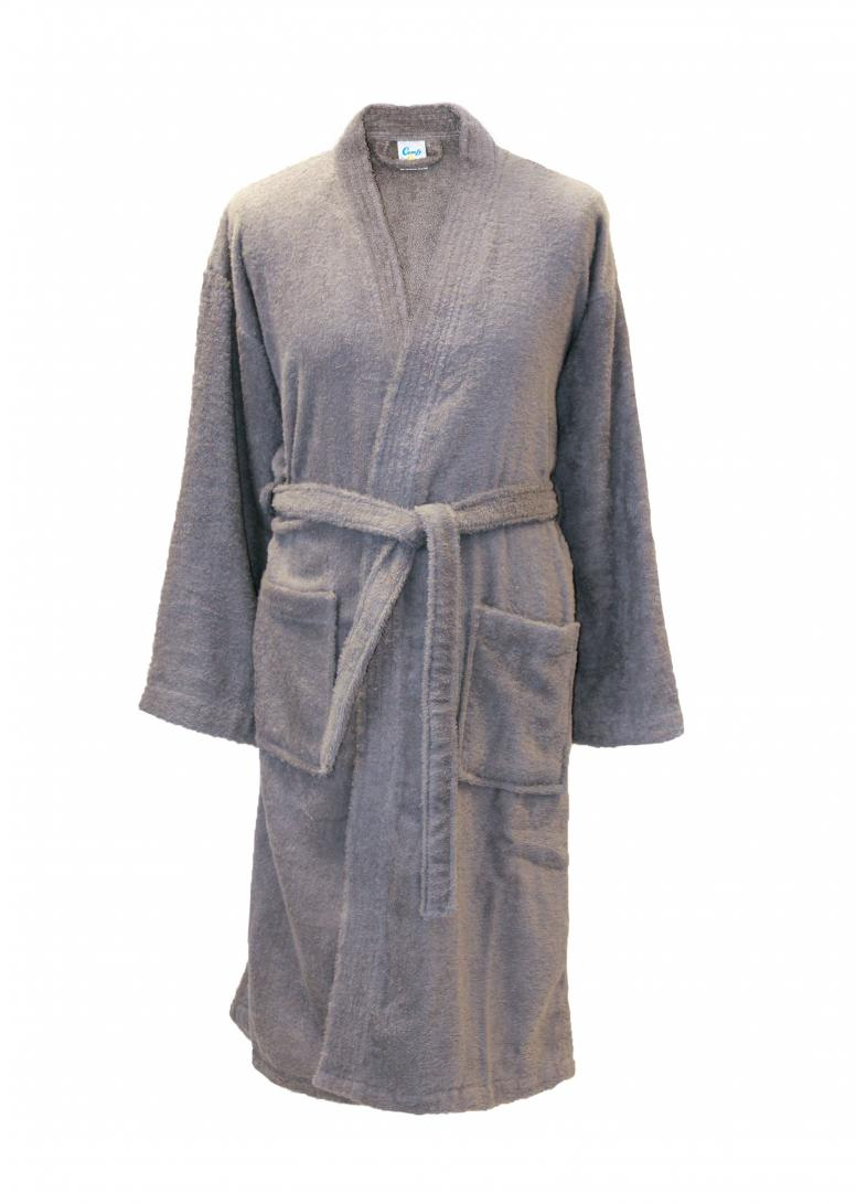 Personalised Cotton Bathrobe Dressing Gown Grey