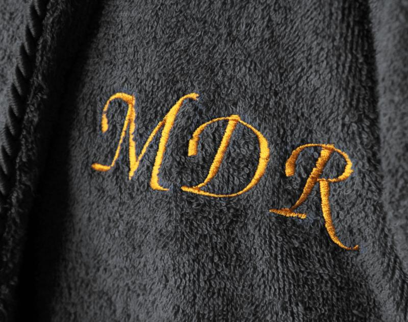 Personalised SHAWL Dressing Gown - Charcoal for Him ...