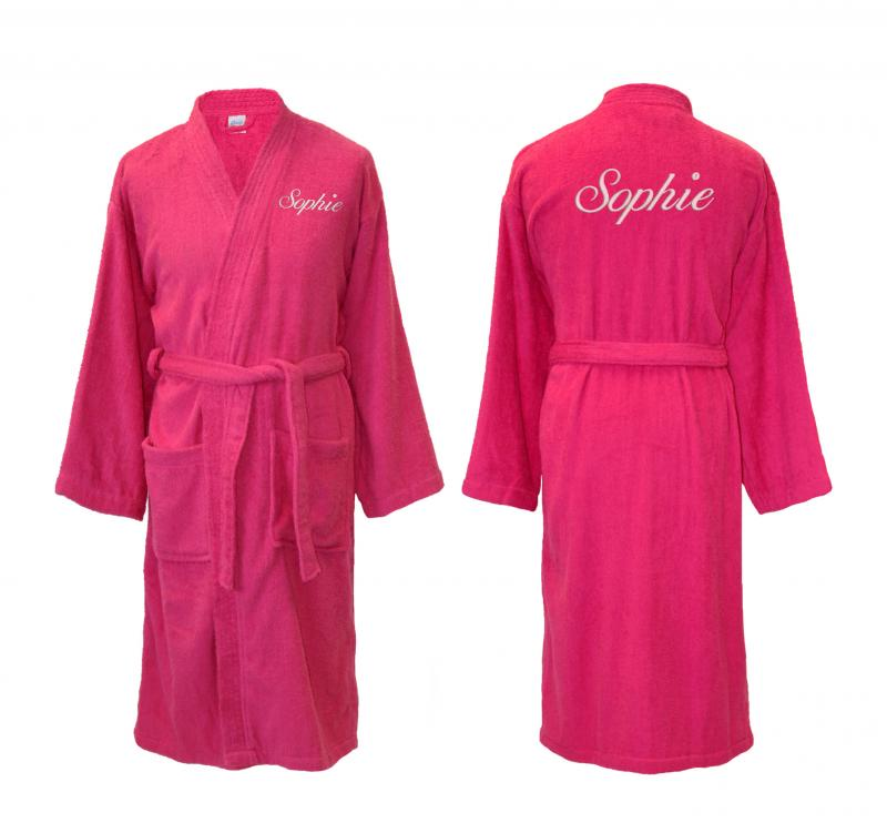 Personalised Cotton Bathrobe, Dressing Gown - Hot Pink ...