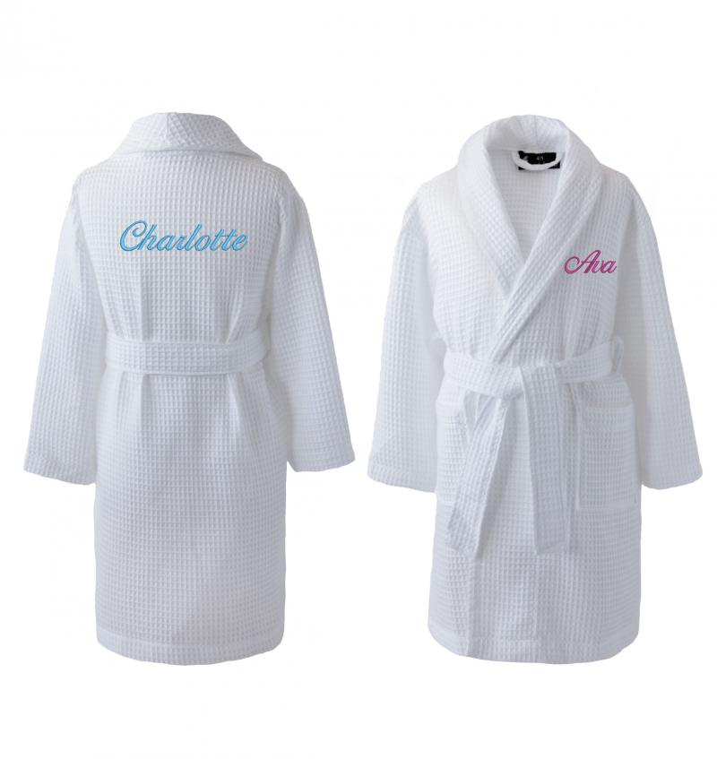 Personalised White Children\'s Waffle Bathrobe | WithCongratulations