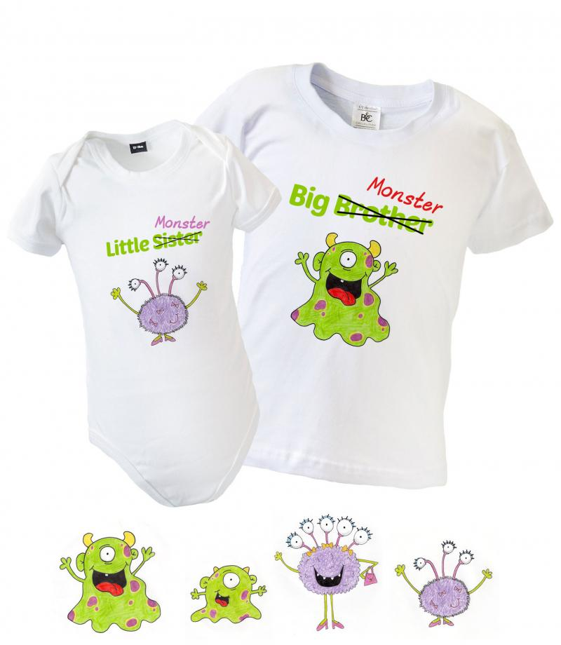 080fa4ba7 Big Little Brother Sister Matching T-Shirt   Babygrow - Monsters ...
