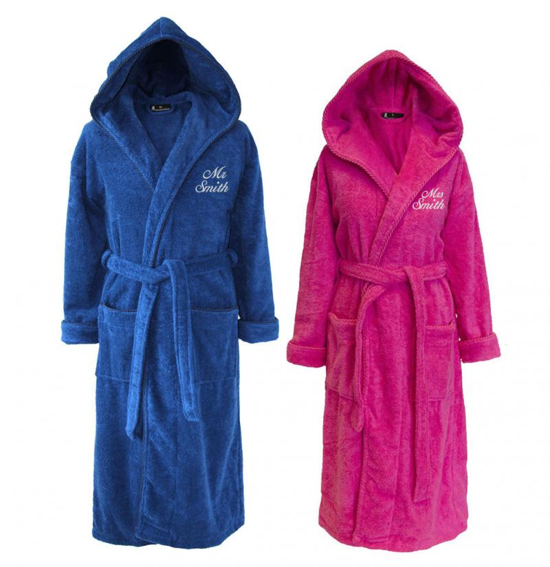 his and hers bathrobes personalised hooded set of pink blue withcongratulations. Black Bedroom Furniture Sets. Home Design Ideas