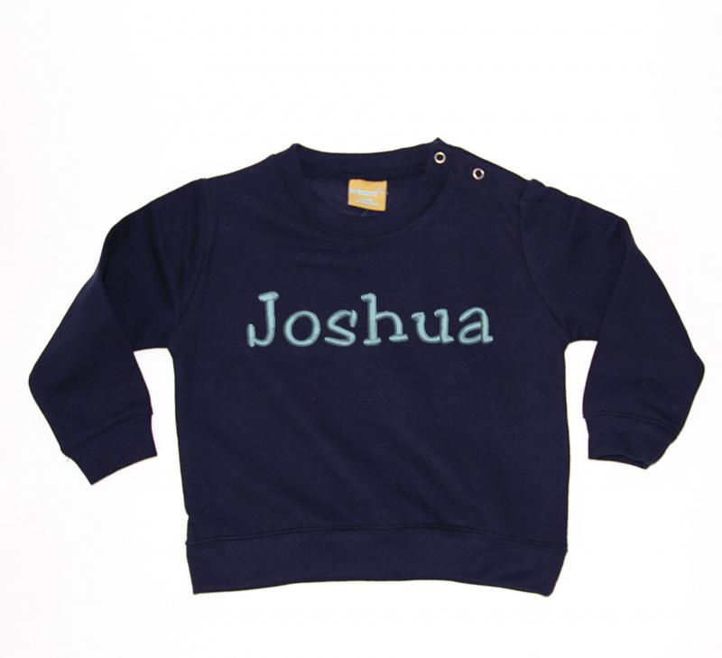 Personalised Embroidered Baby Sweatshirt Navy