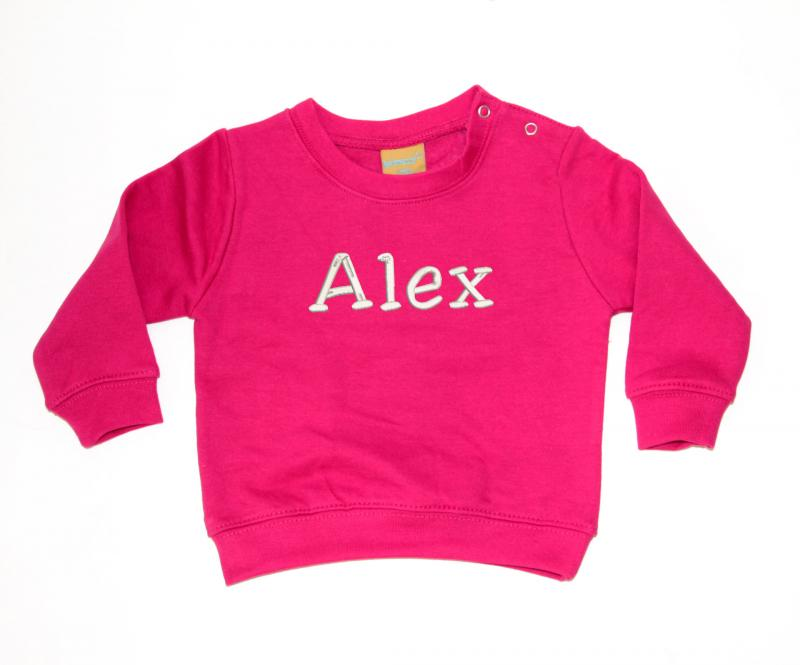 Personalised Embroidered Baby Sweatshirt Hot Pink