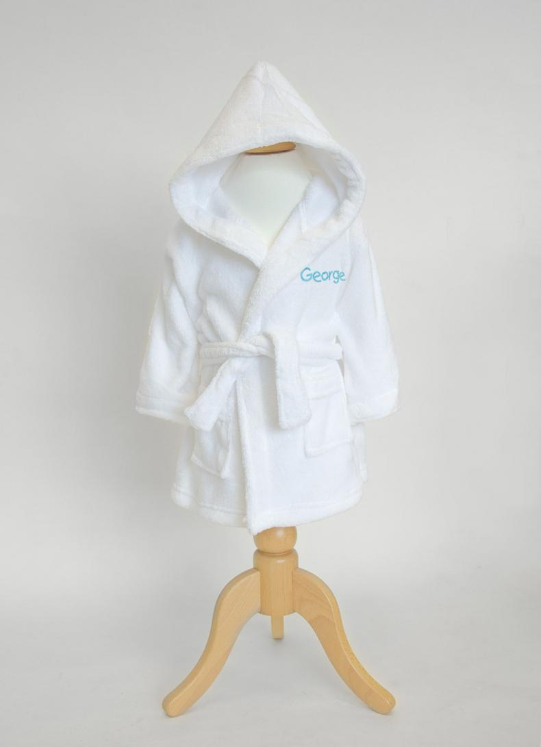 Personalised Baby Dressing Gown White Withcongratulations