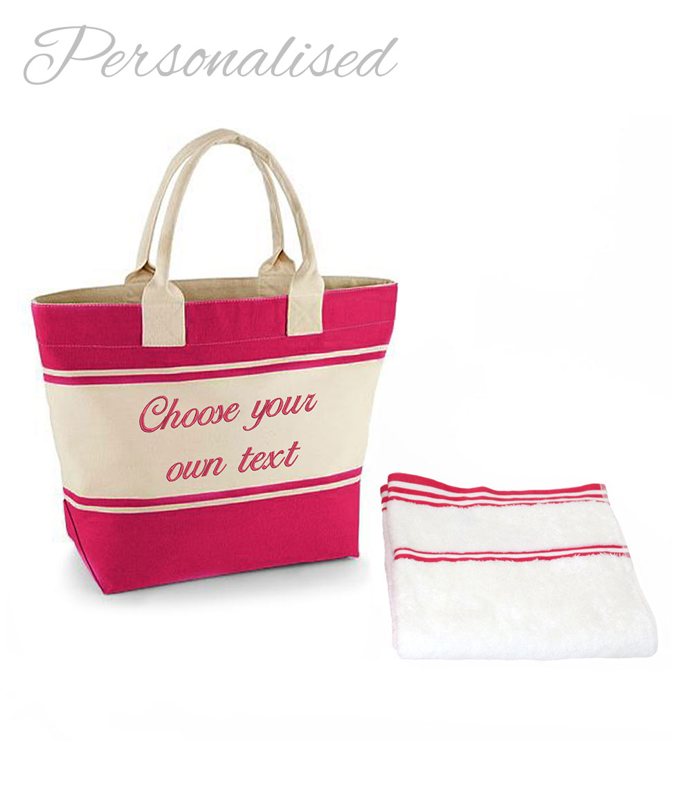 Personalised Embroidered Pink Bag & Towel Set | WithCongratulations
