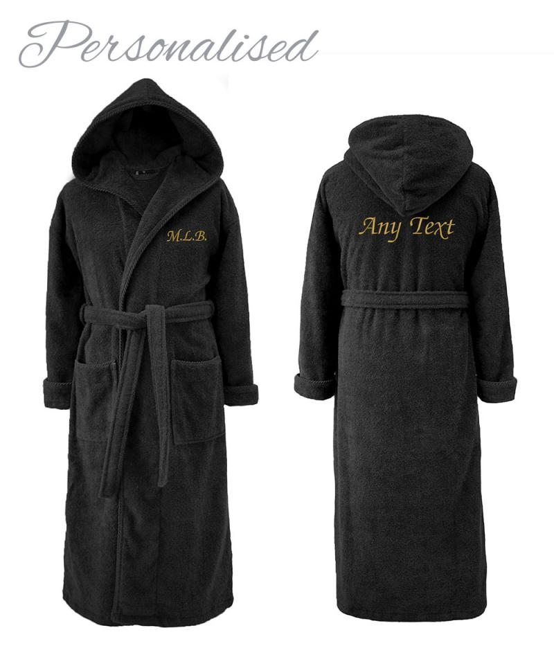 Personalised Hooded Dressing Gown - Black for Him | WithCongratulations