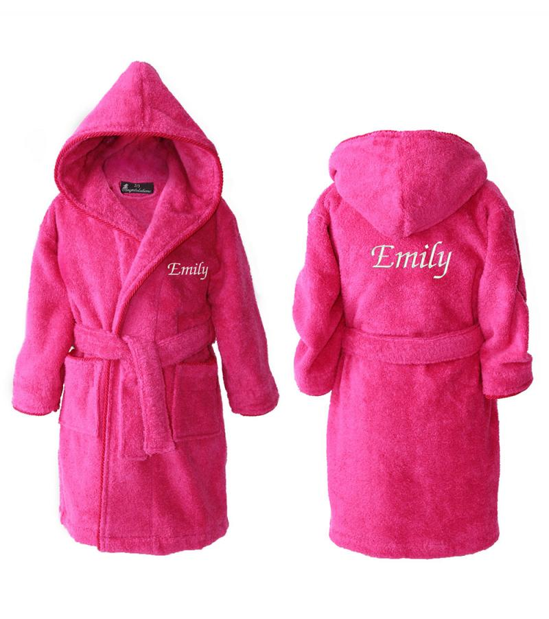 Personalised Kids Dressing Gowns - Hot Pink (2-15ys ...