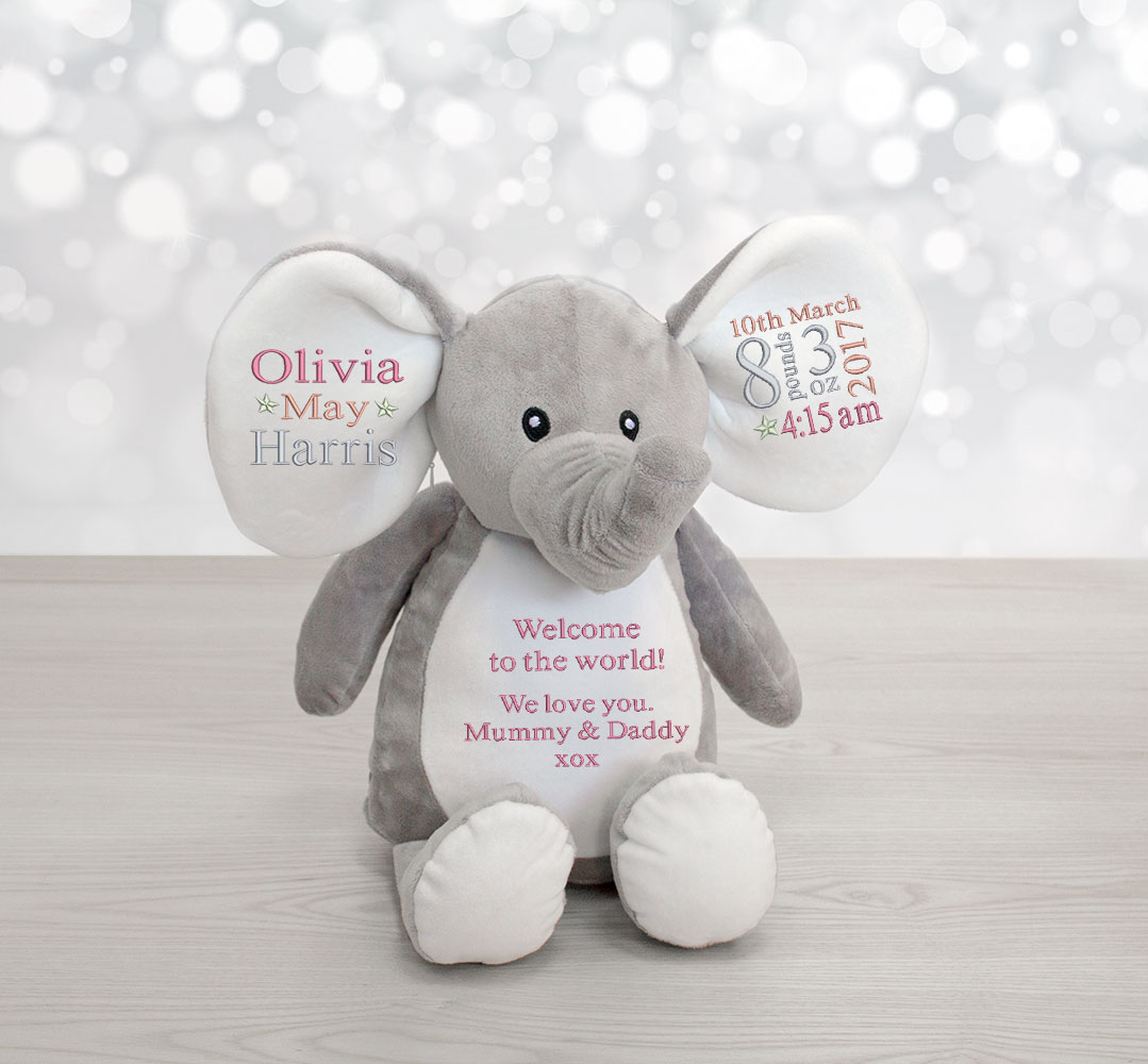 new baby elephant soft toy birth announcement keepsake