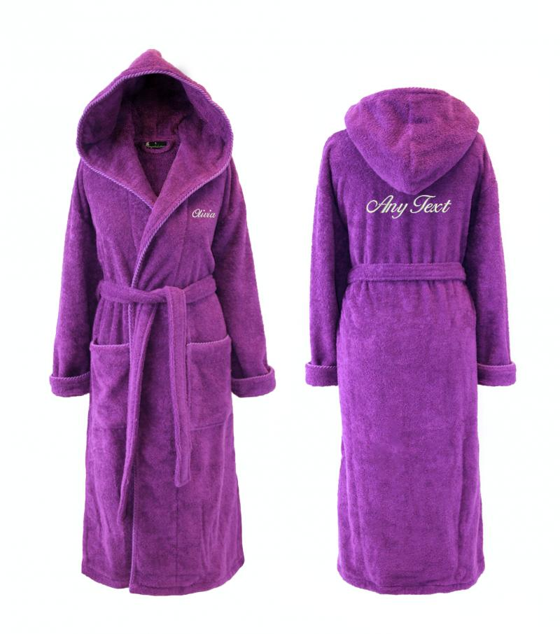 Womens Hooded Dressing Gown, Personalised - Purple | WithCongratulations