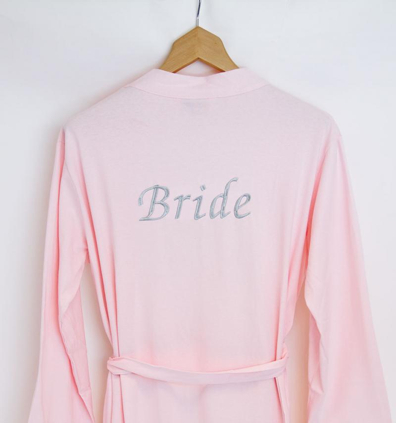 Personalised Bride Pink Jersey Dressing Gown   WithCongratulations