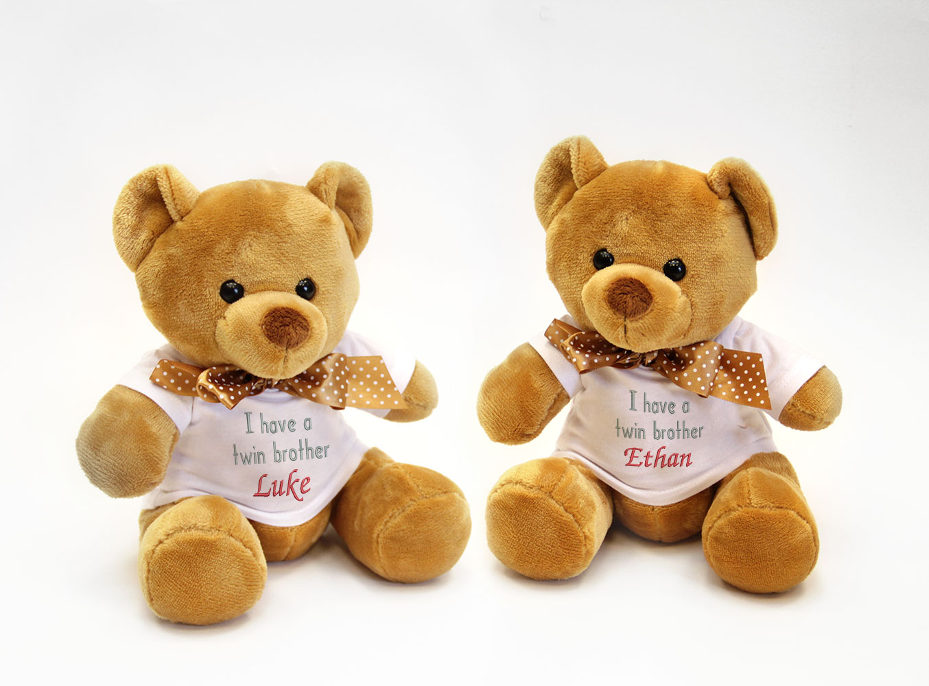 Personalised Gift For Twins Twin Soft Teddy Bears