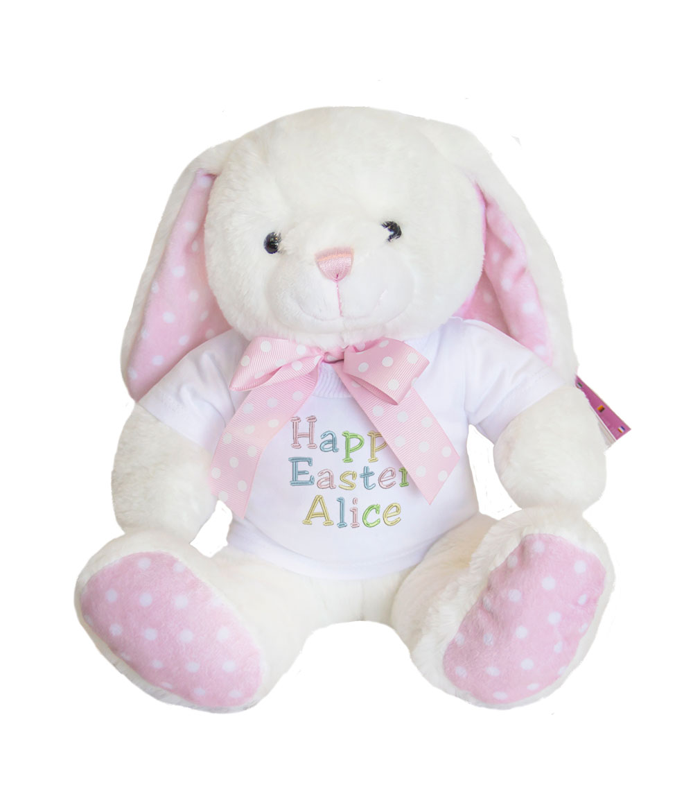 Personalised easter bunny soft toy with polka dot details easter bunny soft toy personalised easter toy easter bunny easter gift for kids negle Image collections