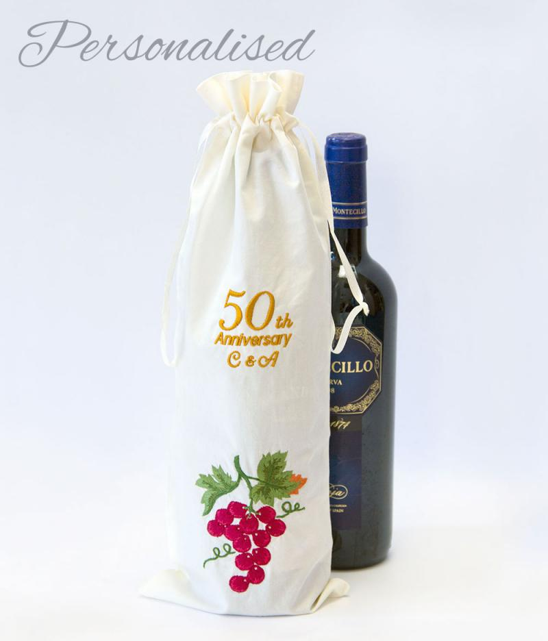 Gift For Sisters 50th Wedding Anniversary : Personalised 50th Golden Anniversary Bottle Bag WithCongratulations