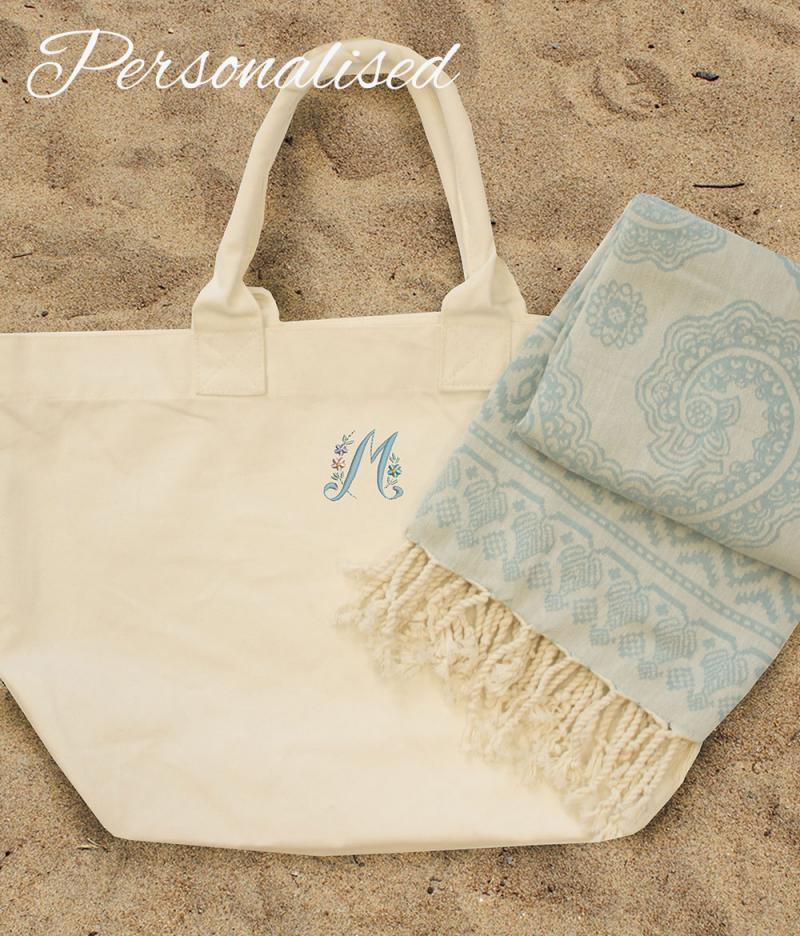 Personalised embroidered floral initial beach bag with