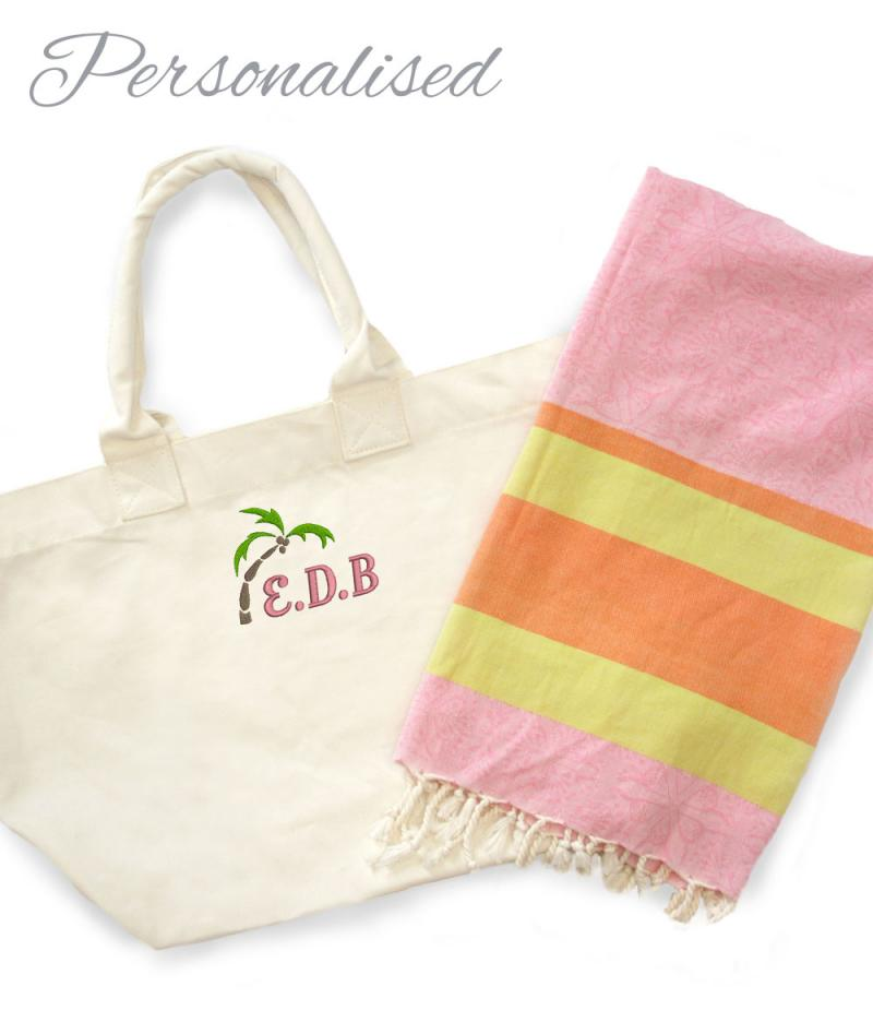 Monogrammed Beach Towel And Bag Set: Personalised Embroidered Palm Tree & Initial Beach Bag