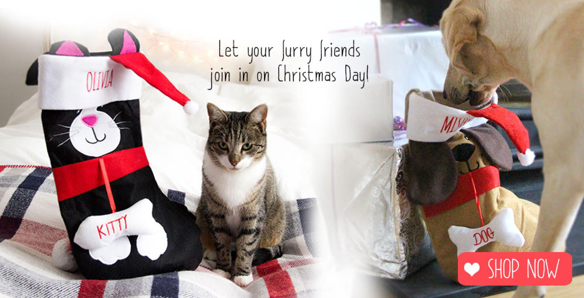 personalised christmas sotckings for dogs and cats