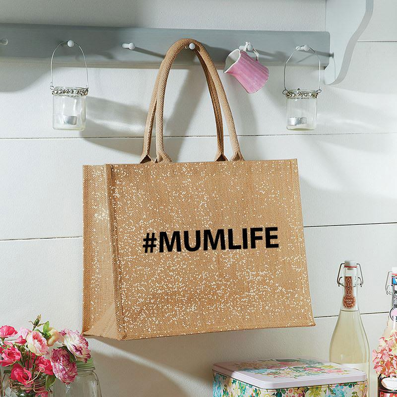 Printed #MUMLIFE Large Sturdy Jute Shopping Bag