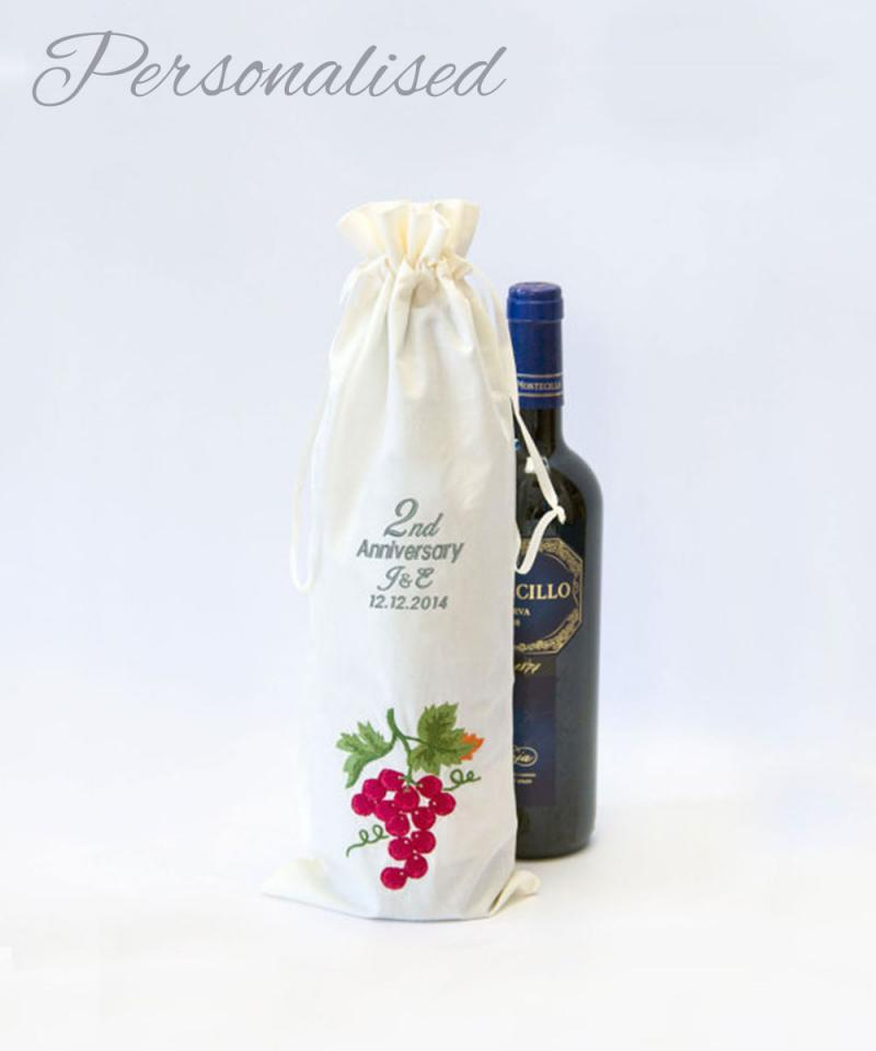 Personalised 2nd Anniversary Cotton Bottle Bag