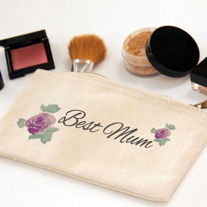 Best Mum Floral Zipper Canvas Pouch Bag