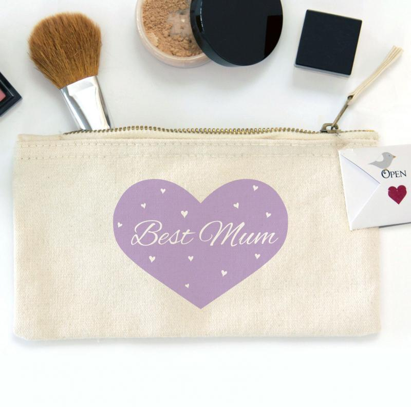 Best Mum Heart Zipper Canvas Pouch Bag