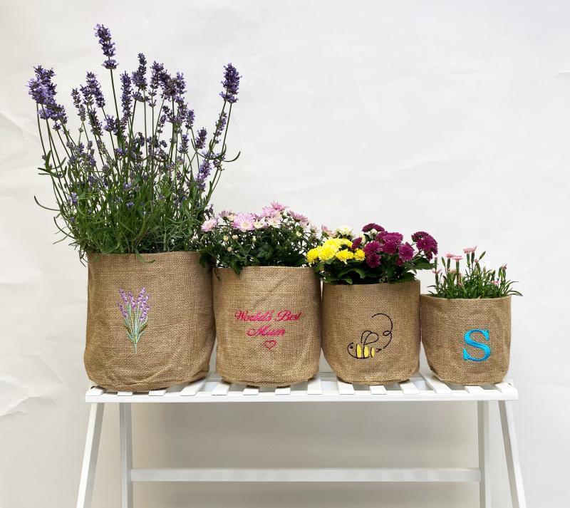 Lavender Hessian Pot