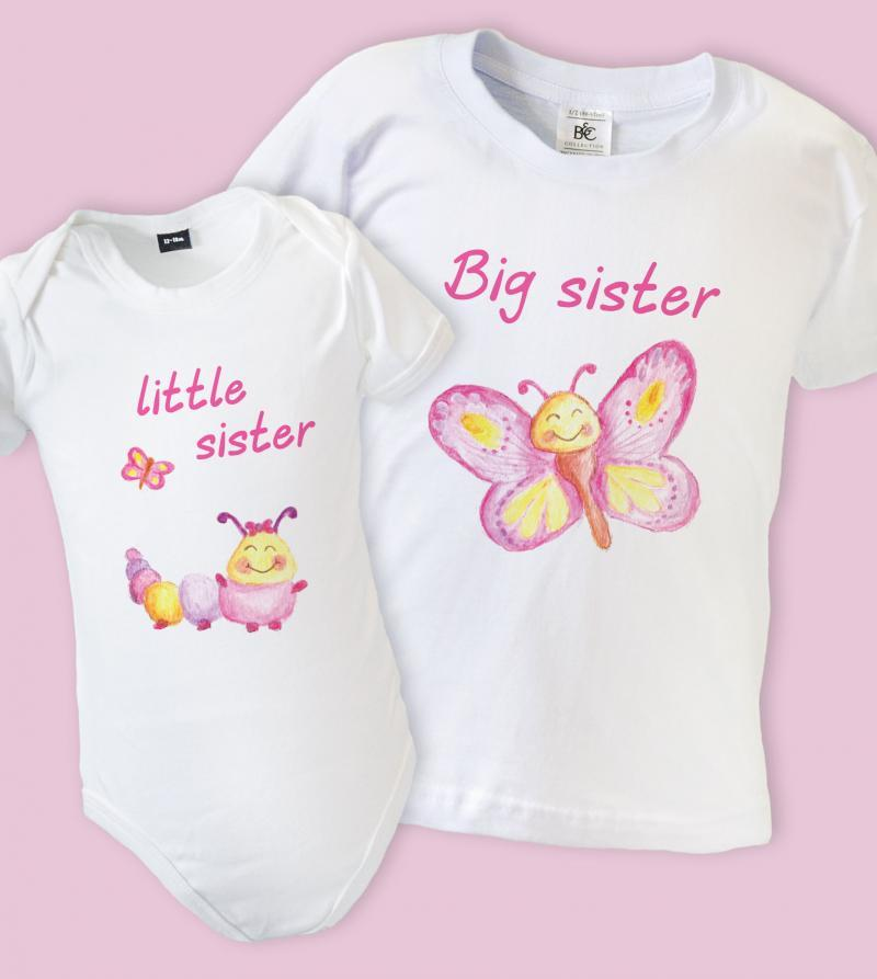 big sister little sister t shirts butterfly. Black Bedroom Furniture Sets. Home Design Ideas