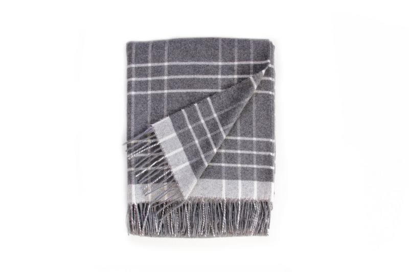 Grey and Off White Cashmere Wool Blanket