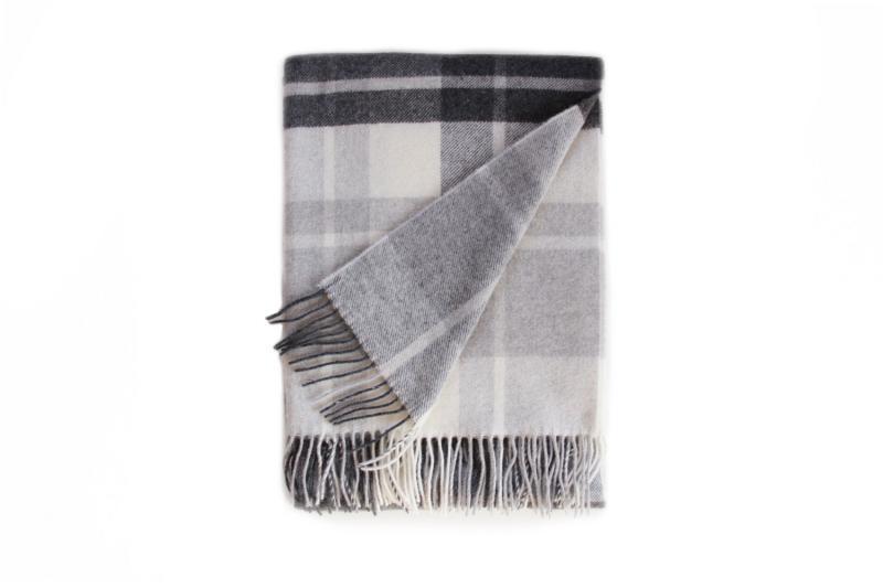 Light Grey and Black Cashmere Blanket